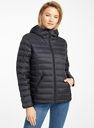 Recycled nylon hooded puffer jacket