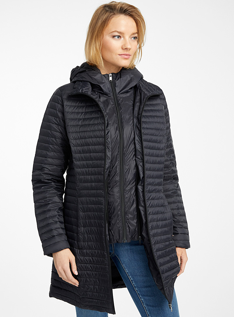 Contemporaine Black Removable hood recycled nylon puffer jacket for women