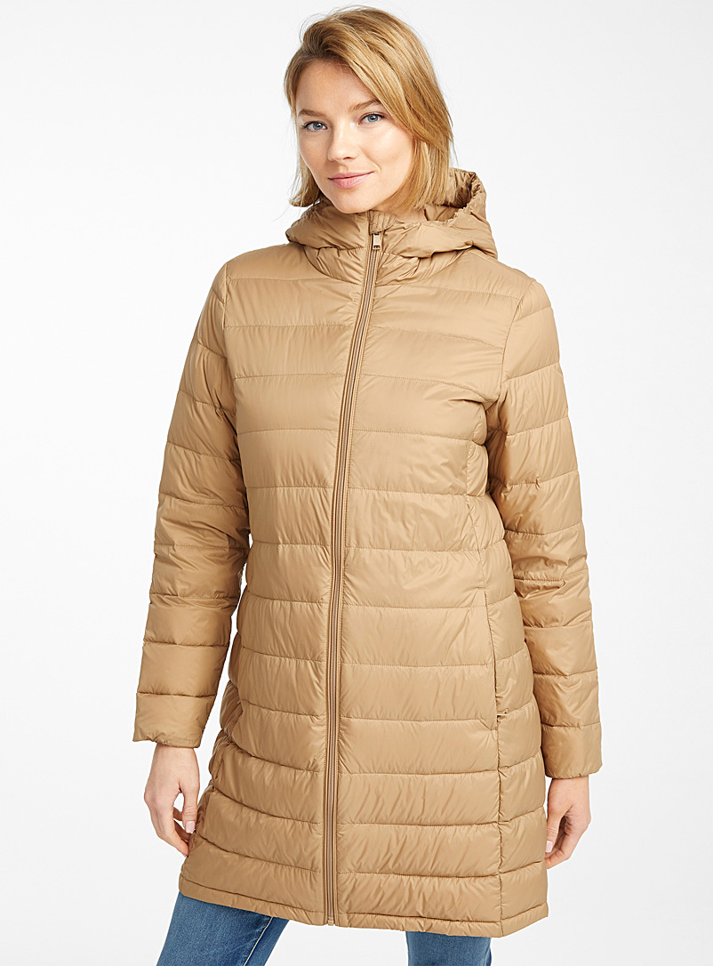 Contemporaine Light Grey Recycled nylon 3/4 puffer jacket for women
