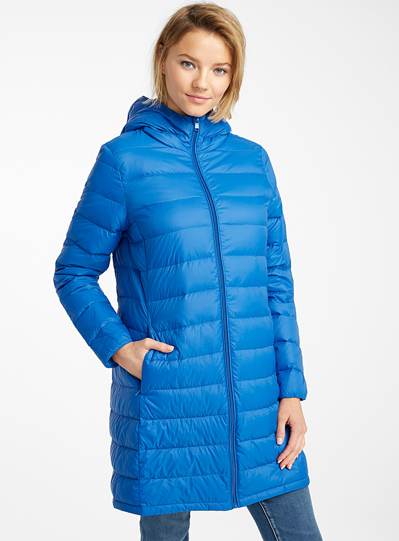 Contemporaine Sapphire Blue Recycled nylon 3/4 puffer jacket for women