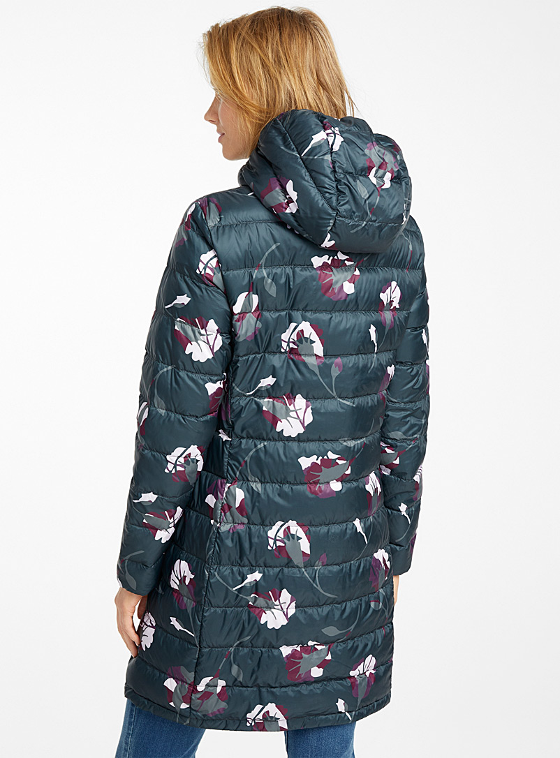 Contemporaine Patterned Grey Nocturnal garden recycled polyester puffer jacket for women