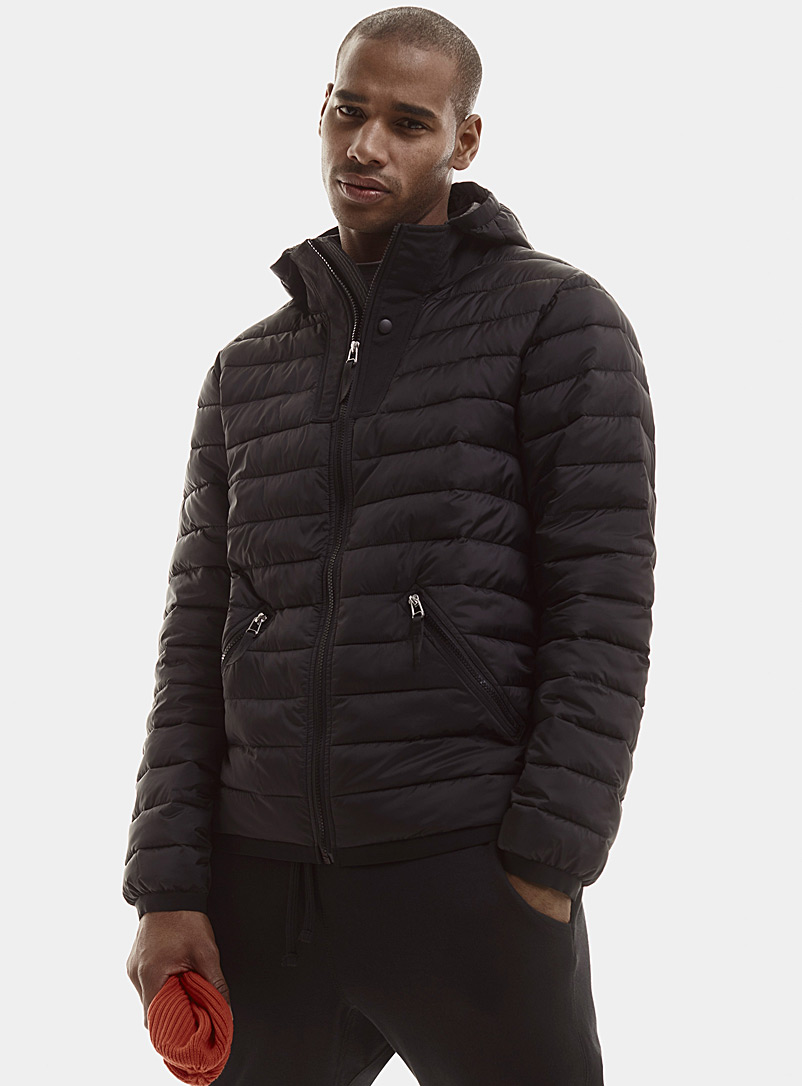Le 31 Black Recycled polyester hooded puffer jacket for men