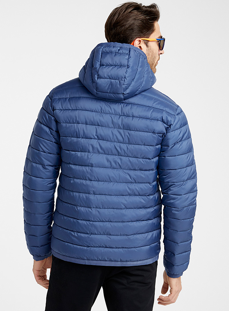 Le 31 Blue Recycled polyester hooded puffer jacket for men