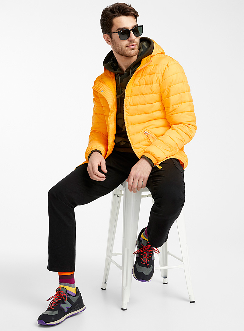Recycled polyester hooded puffer jacket
