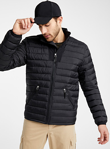 Recycled polyester stand-collar puffer jacket