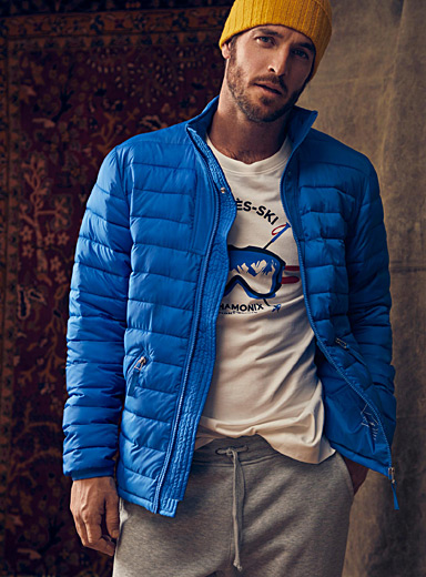Le 31 Blue Recycled polyester stand-collar puffer jacket   for men