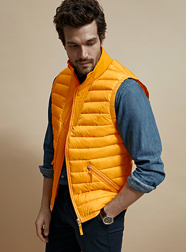 Le 31 Medium Yellow Recycled polyester puffer vest for men