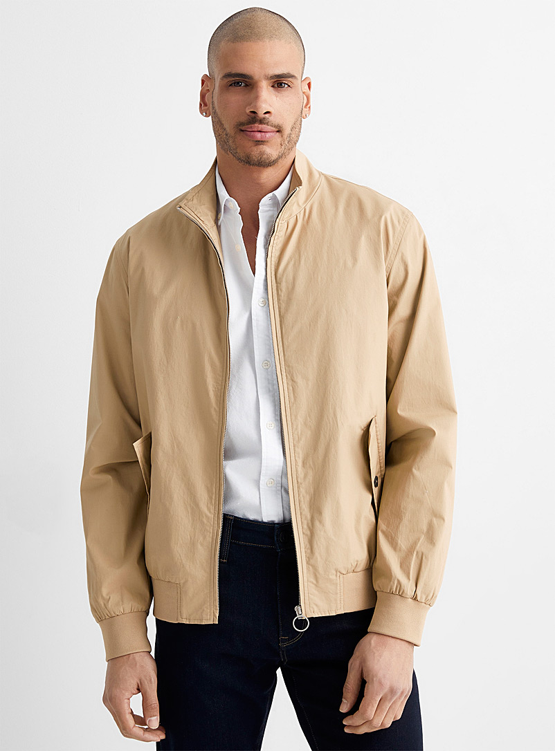 Le 31 Light Brown Modern Harrington jacket for men