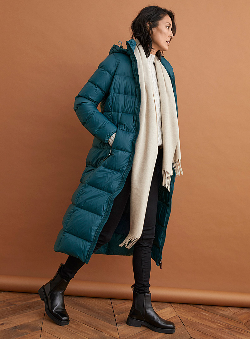 Long recycled nylon down puffer jacket