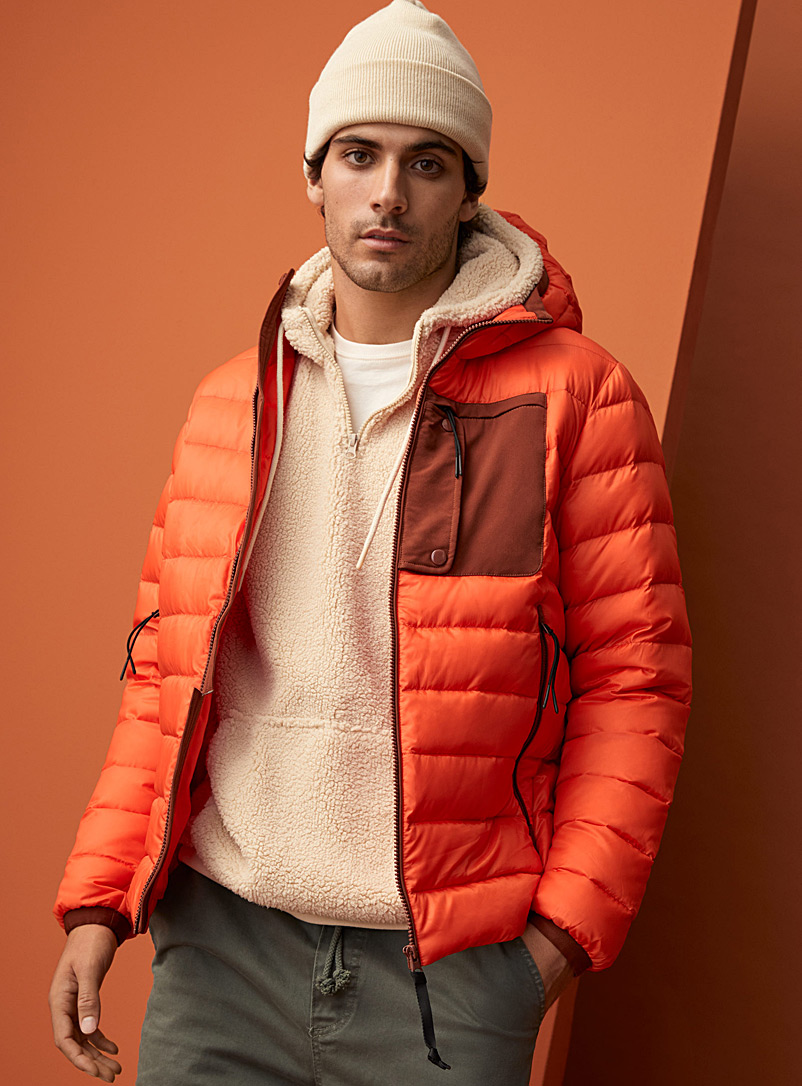 Le 31 Medium Orange Responsible duvet puffer jacket for men
