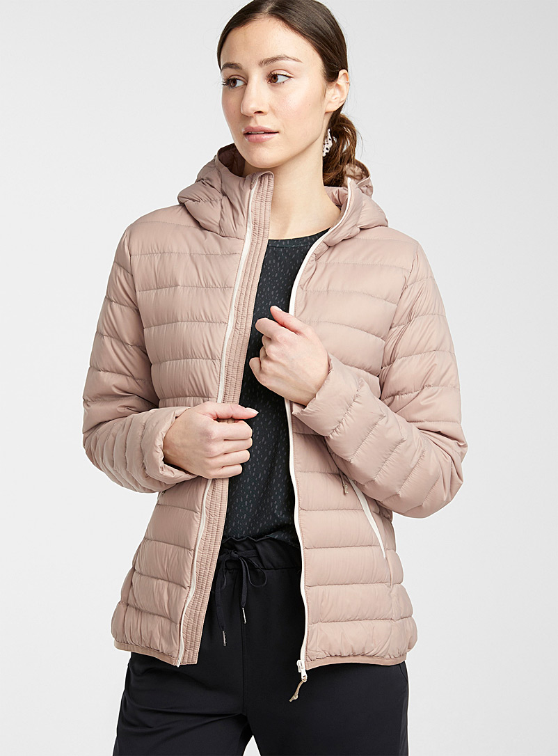 I.FIV5 Light Brown Eco-friendly packable hooded puffer jacket for women