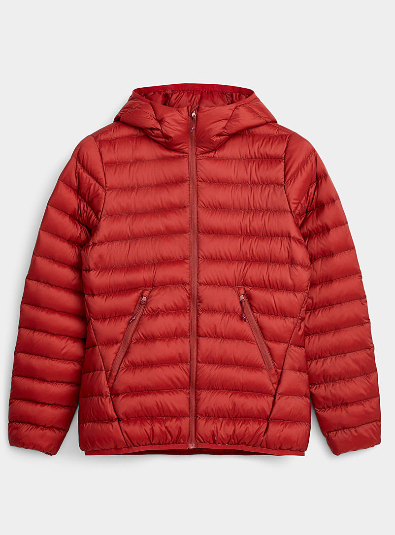 I.FIV5 Ruby Red Eco-friendly packable hooded puffer jacket for women