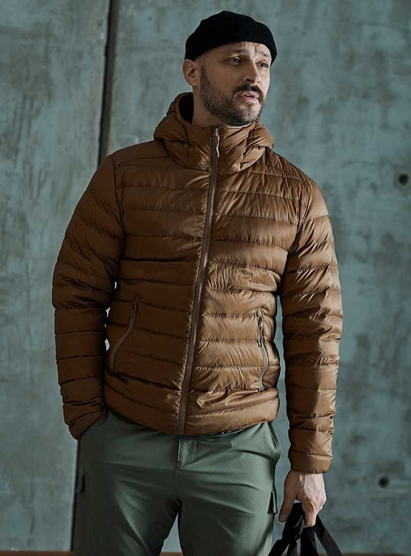 I.FIV5 Sand Eco-friendly packable hooded puffer jacket for men