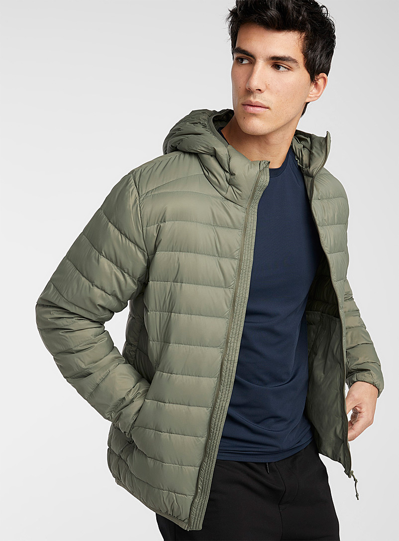 I.FIV5 Mossy Green Eco-friendly packable hooded puffer jacket for men