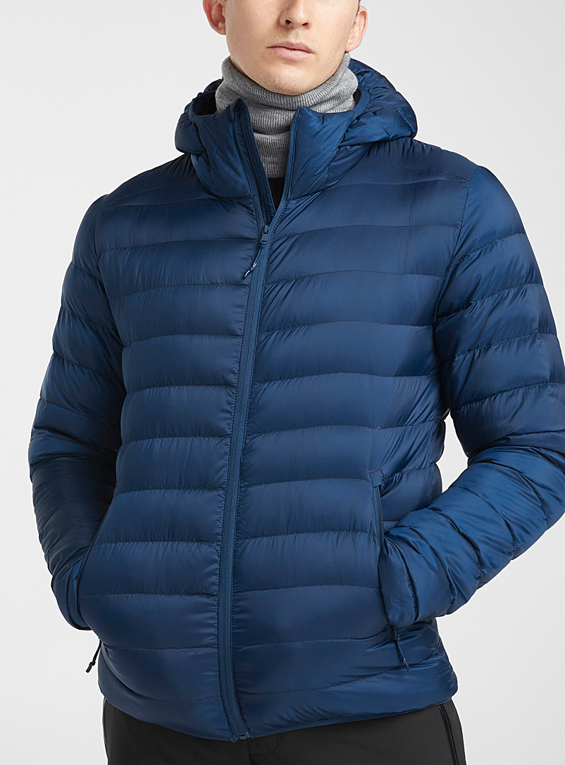I.FIV5 Dark Blue Eco-friendly packable hooded puffer jacket for men