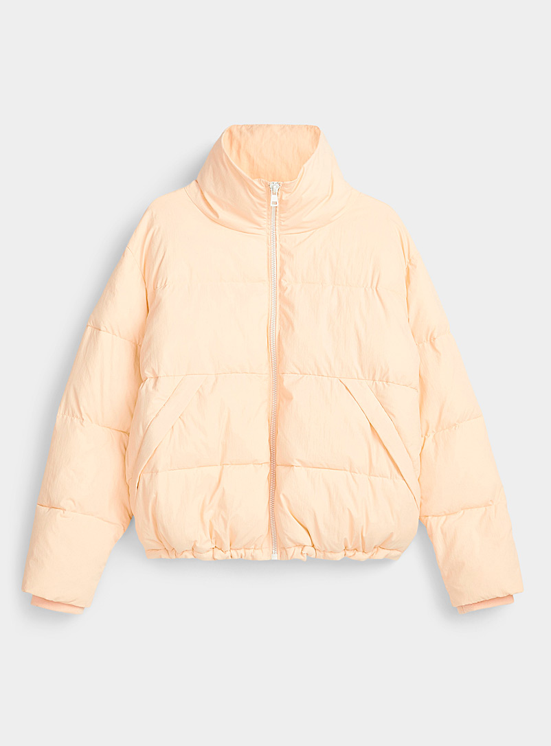 Twik Tan Cropped recycled nylon puffer for women