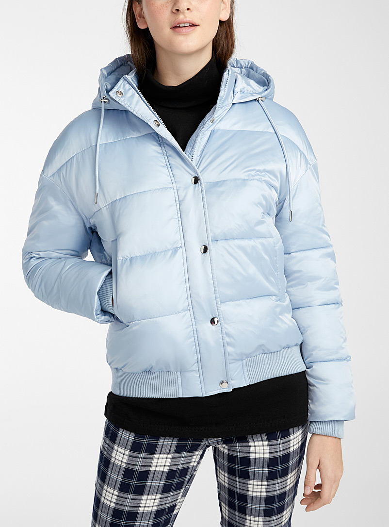 Twik Baby Blue Satiny cropped puffer jacket for women