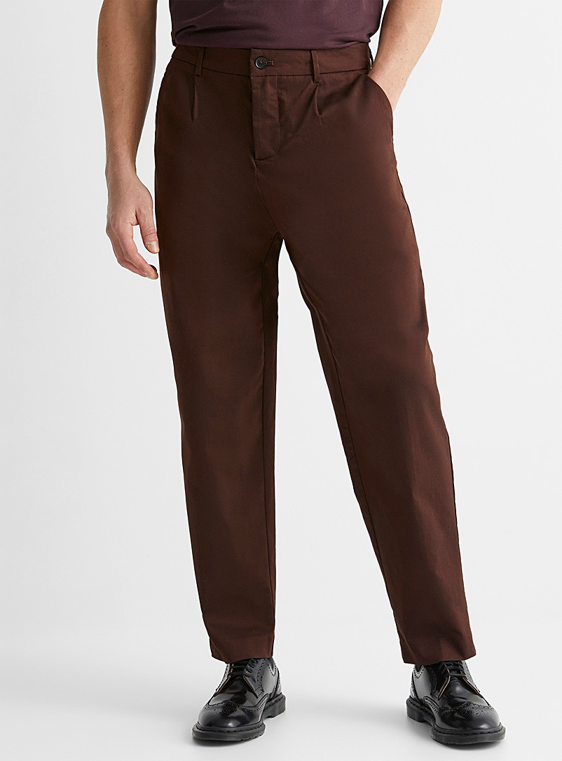 Le 31 Brown Pleated stretch chinos Reykjavik fit-Anti-fit for men