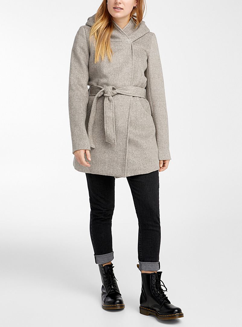 Twik Cream Beige Belted mock-neck hooded wool coat for women