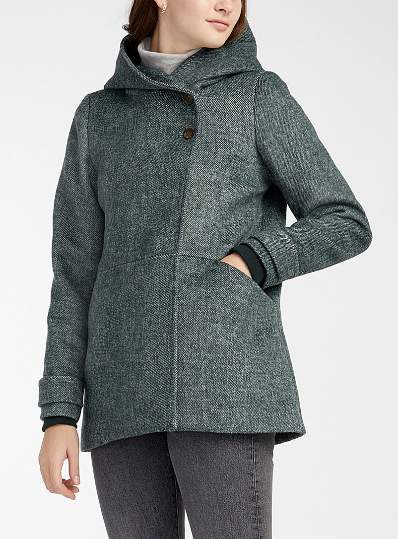 Two-button hooded wool coat