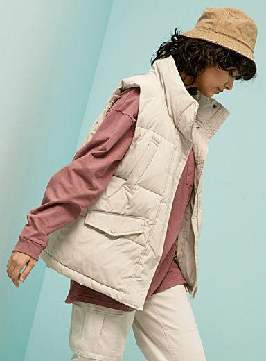 Oversized quilted vest