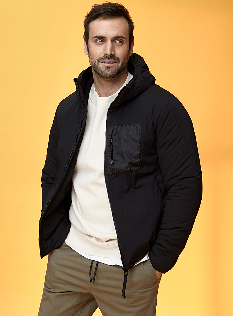Le 31 Black Eco-friendly technical hooded jacket for men