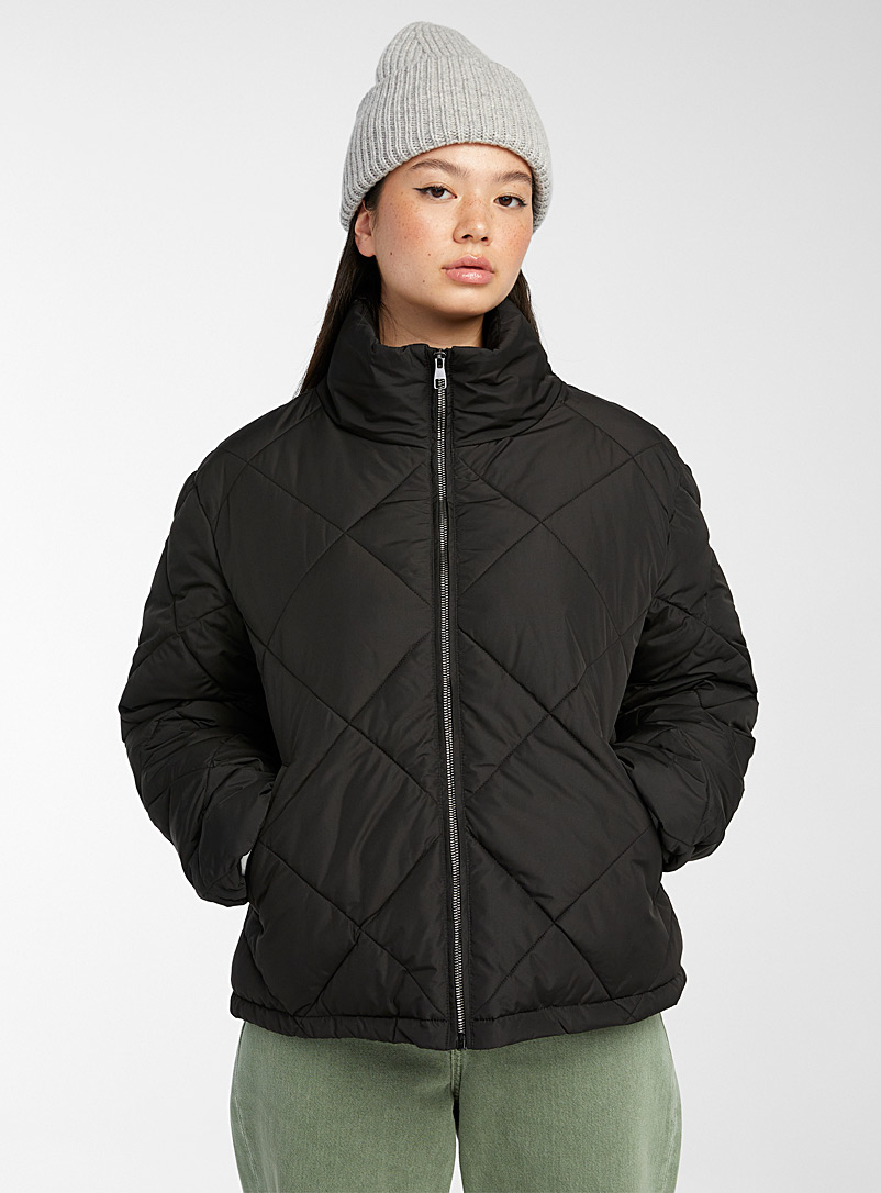 Twik Black Recycled polyester puffer jacket for women