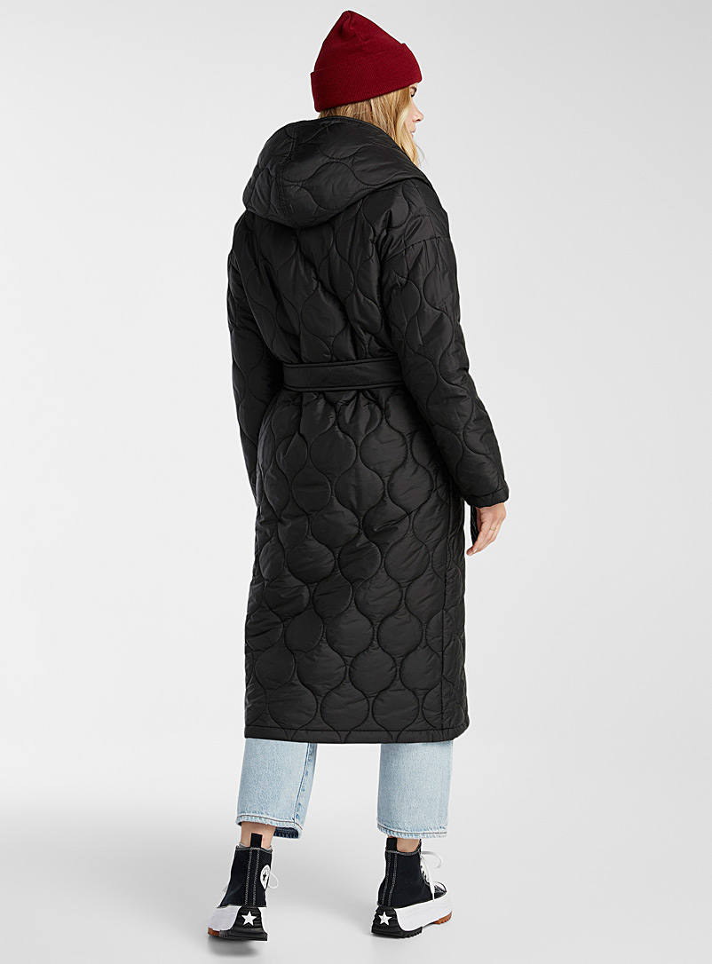 Twik Black Long recycled polyester belted puffer jacket for women