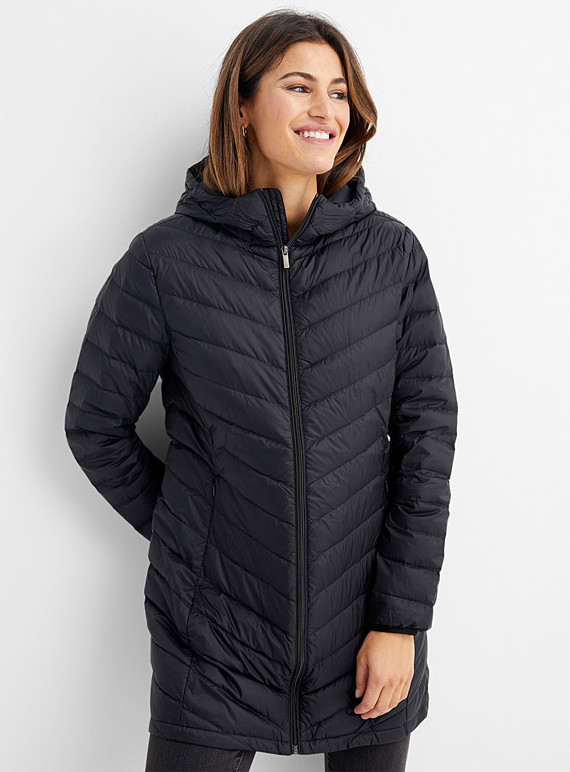 Contemporaine Black Recycled nylon 3/4 puffer jacket for women