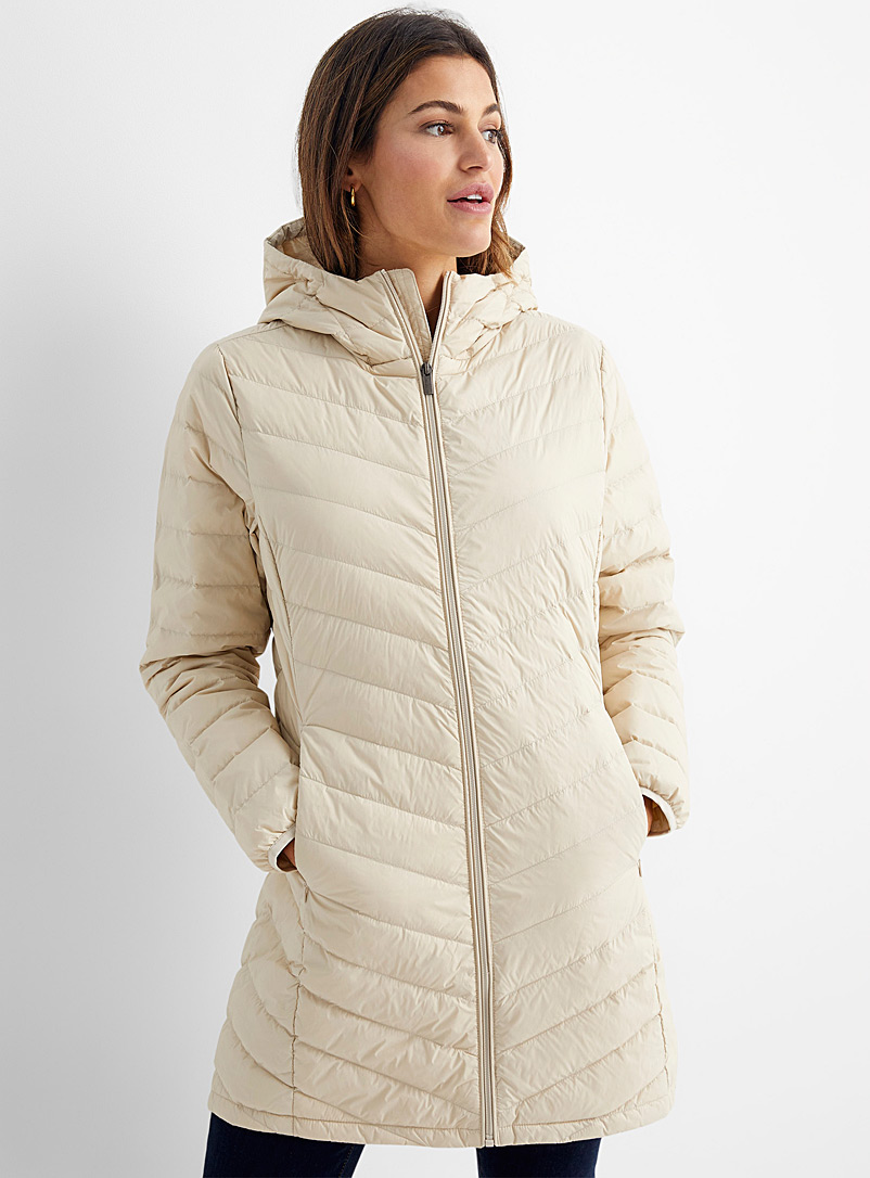 Contemporaine Cream Beige Recycled nylon 3/4 puffer jacket for women