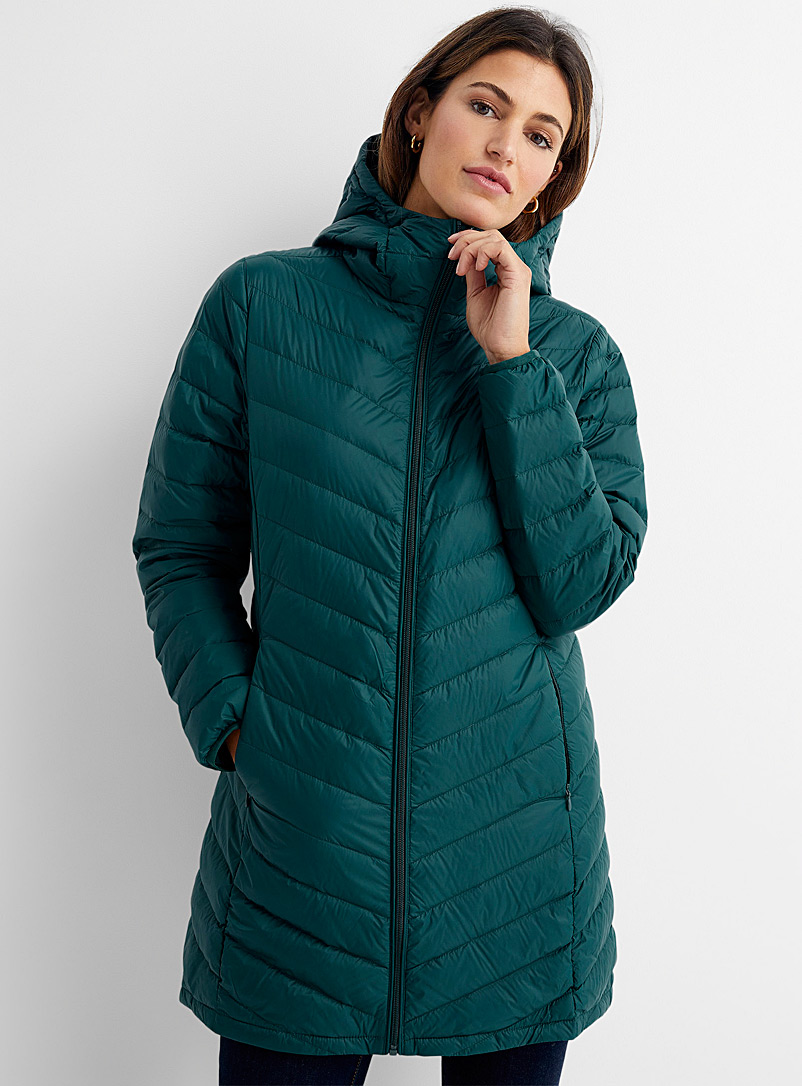 Contemporaine Green Recycled nylon 3/4 puffer jacket for women