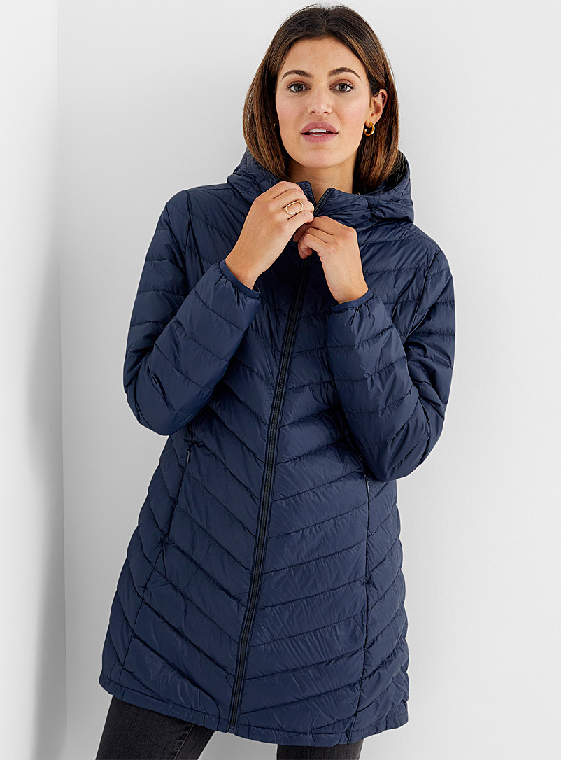 Contemporaine Marine Blue Recycled nylon 3/4 puffer jacket for women