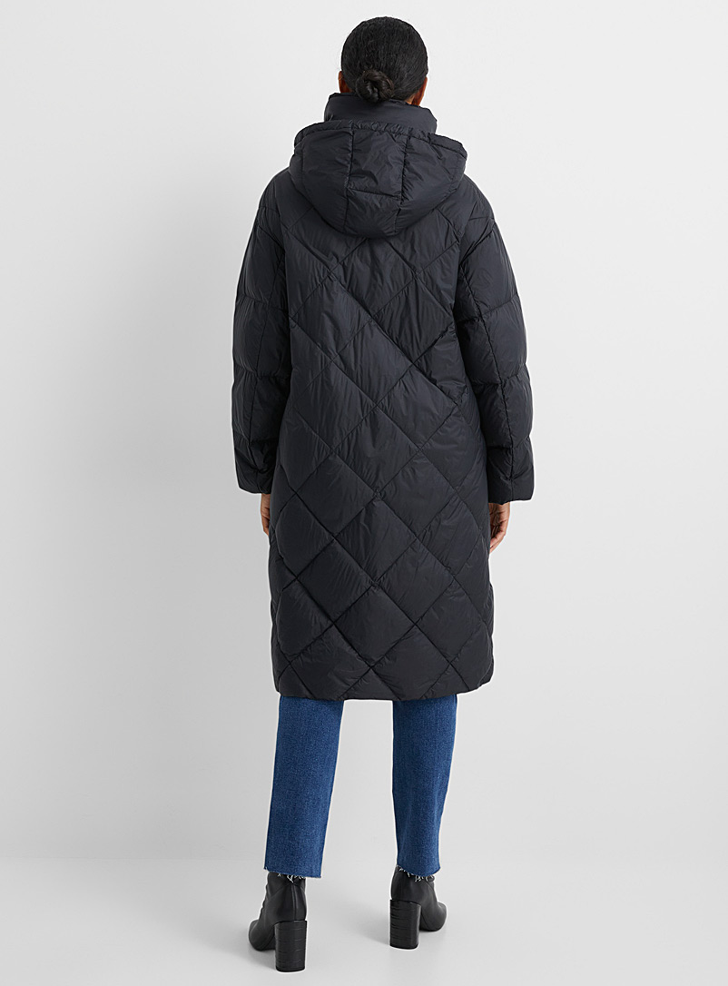 Contemporaine Pearl grey Oversized recycled nylon diamond puffer jacket for women