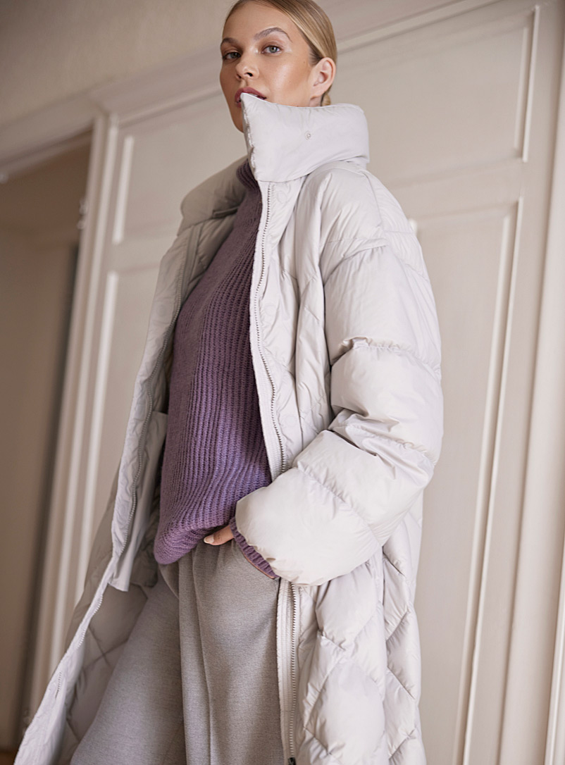 Icône Pearl grey Recycled nylon loose diamond puffer jacket for women