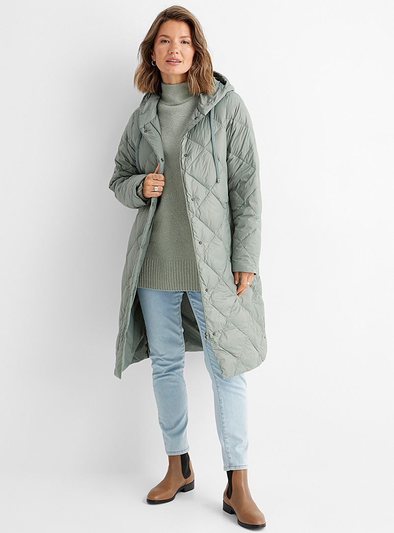 Contemporaine Lime Green Recycled-nylon long diamond puffer jacket for women