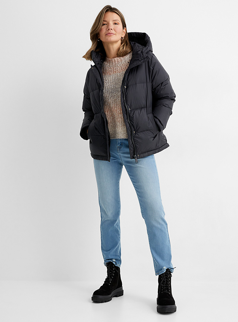 Icône Black Recycled nylon hooded puffer jacket for women