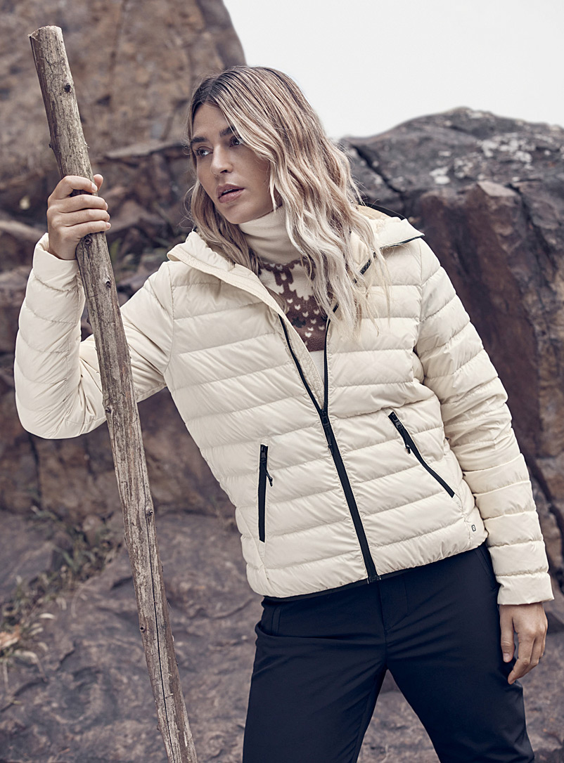 I.FIV5 Ivory White Recycled nylon packable puffer jacket for women