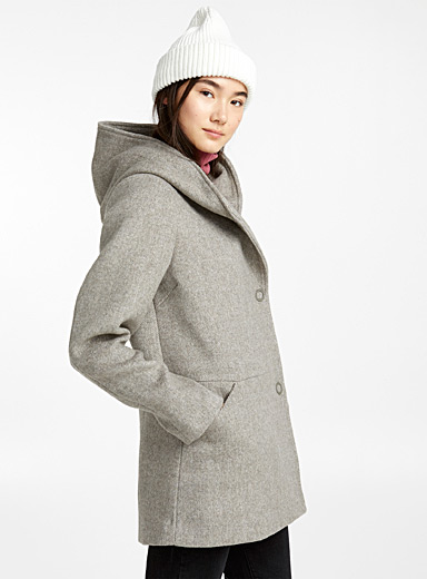 Asymmetric button pea coat