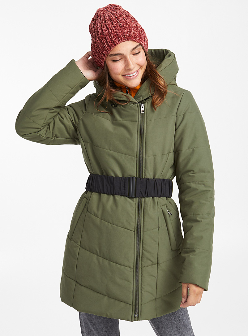 Belted puffer jacket - Anoraks and Parkas - Khaki