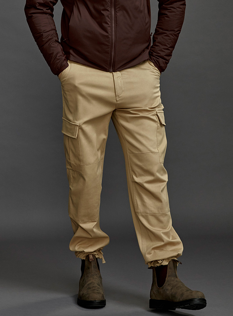 Le 31 Sand Lyocell utility cargo pant for men
