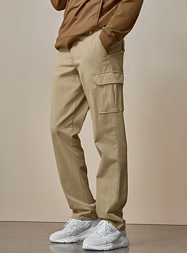 Le 31 Sand Monochrome lyocell cargo pant  London fit - Slim straight for men