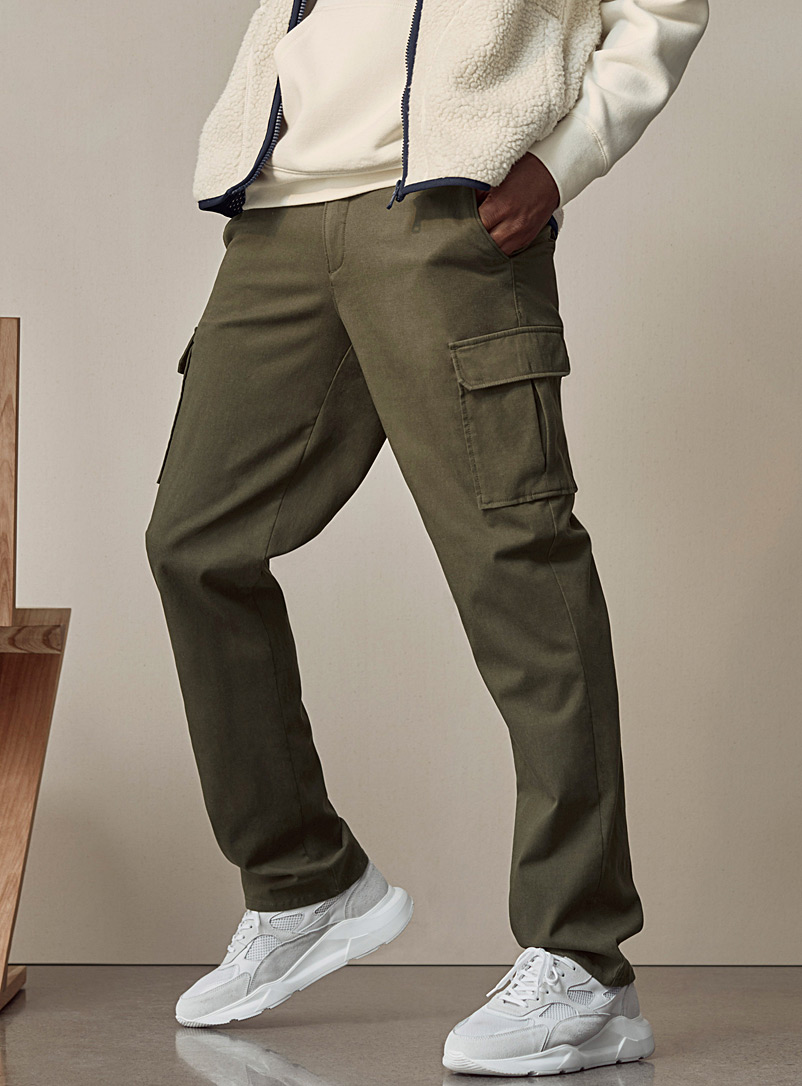 Le 31 Mossy Green Monochrome lyocell cargo pant  London fit - Slim straight for men