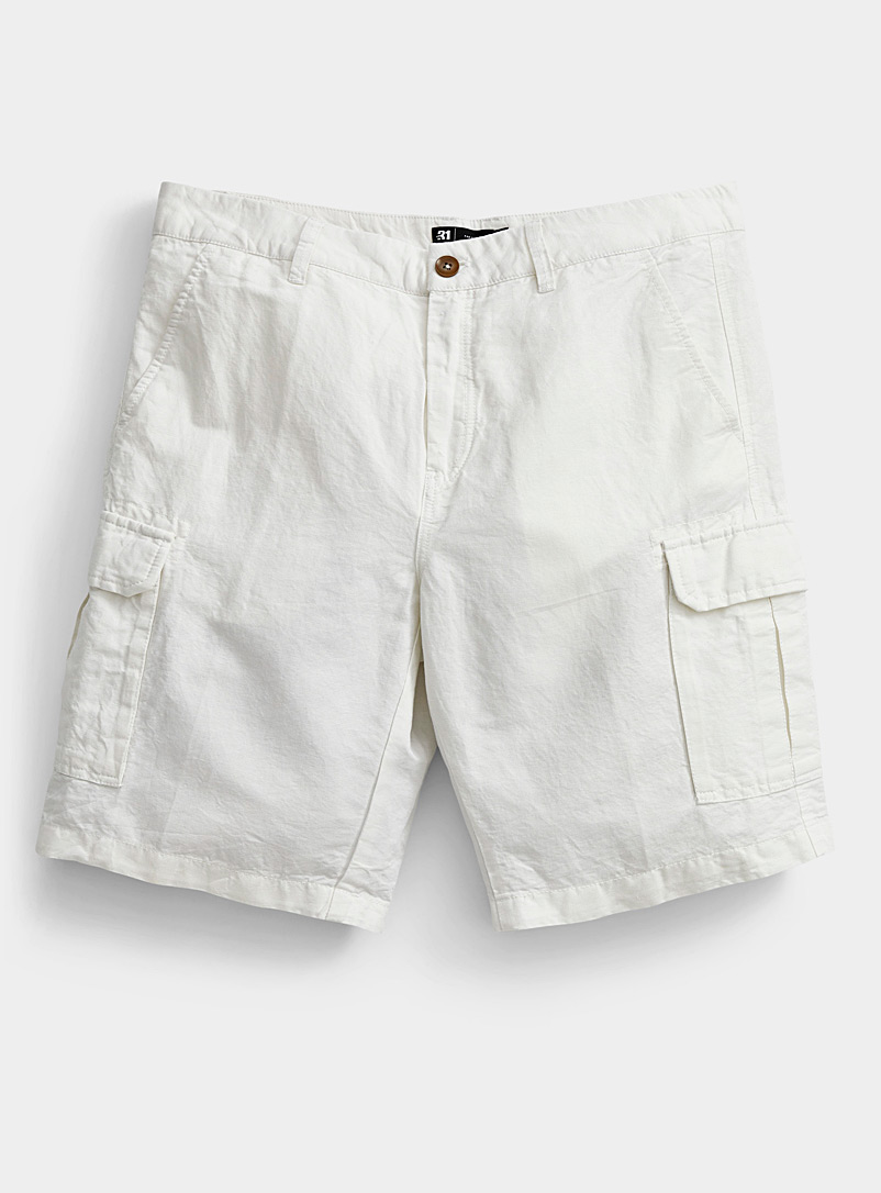 Le 31 Ivory White Organic cotton and linen cargo Bermudas for men