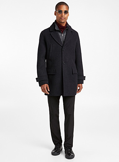 Quilted collar recycled wool coat
