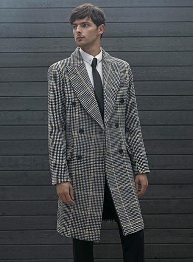 Accent line houndstooth recycled wool overcoat