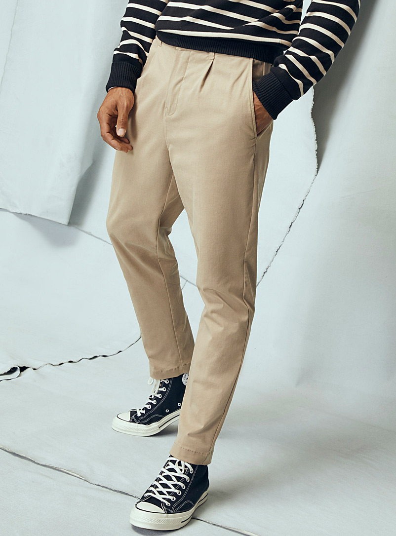 Le 31 Light Brown Flat-pleated lyocell pant  Reykjavik fit-Anti-fit for men