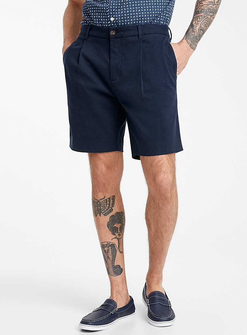 Le 31 Marine Blue Flat-pleat TENCEL* lyocell shorts for men
