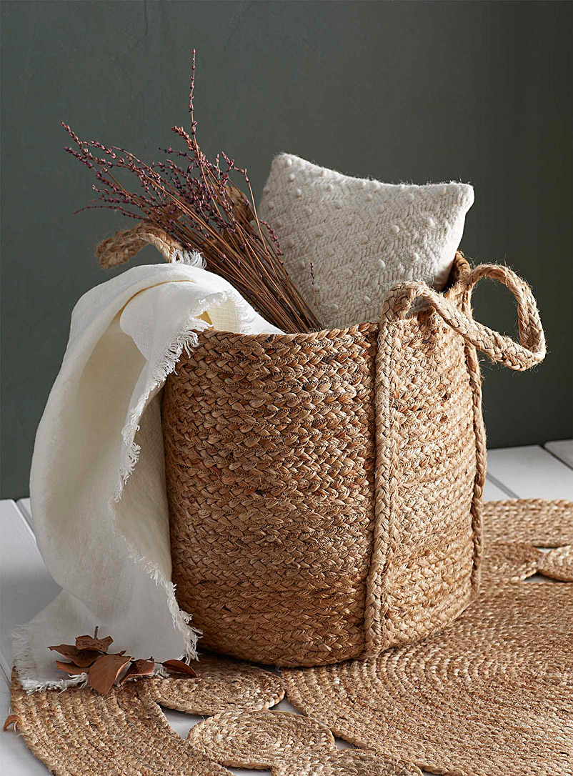 Woven jute basket - Poufs - Light Brown