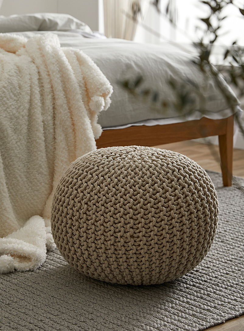 Mega cotton knit pouf - Poufs - Ivory White
