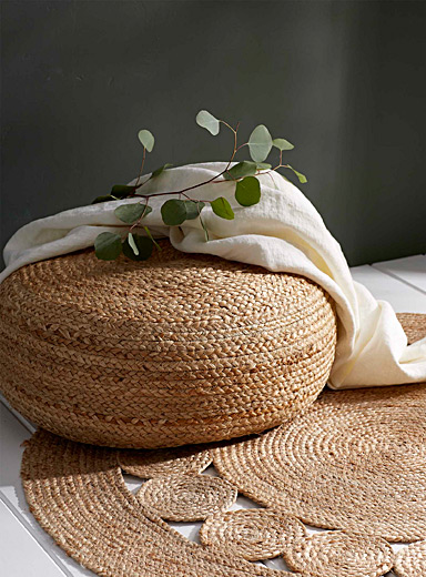 Rustic braided pouf